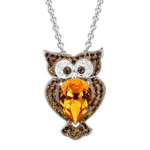 Swarovski crystal owl pendant in sterling silver